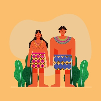 주황색 배경에 전통 치마를 입은 원주민 커플