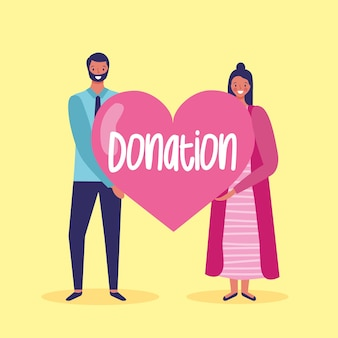 Couple inviting to donate to charity cartoon illustration