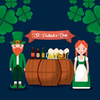 Couple irish with beers and barrels of st patrick day