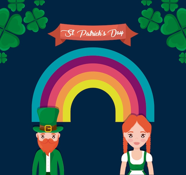 Couple irish with rainbow of st patrick day