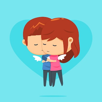 A couple is flying while hugging each other