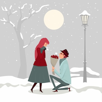 The couple is in love, a man ask a girl to marry under the cold weather