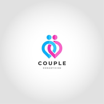 Couple is a relationship logo linked human point concept