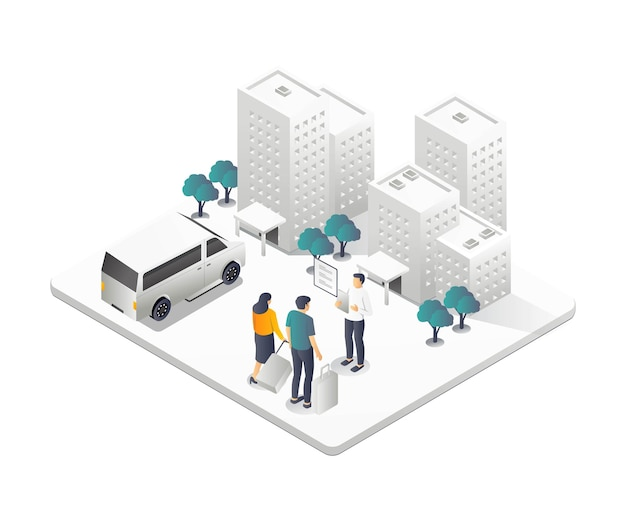 A couple is renting a hotel in isometric illustration