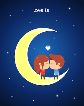 A couple is sitting on the moon and kissing