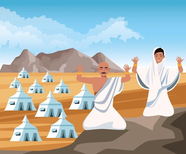 Couple of islamic persons in desert landscape vector illustration design