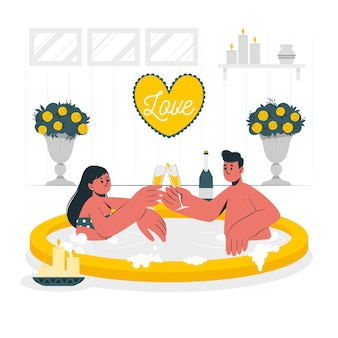Couple in a jacuzzi concept illustration