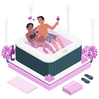 Couple in a jacuzziconcept illustration