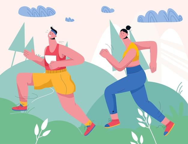 都市公園や森でジョギングするカップル。自然の風景の中を走るスポーツユニフォームのランナー。屋外でスポーツウェアのトレーニングに身を包んだ男女。