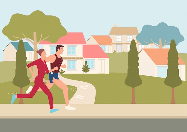 Couple jogging and running outdoors in neighborhood illustration