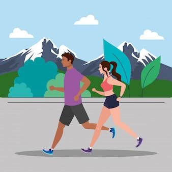 山岳風景、女と男を実行している、イラストデザインをジョギングスポーツウェアの人々とジョギングのカップル