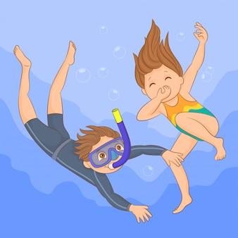 Couple of kids diving underwater