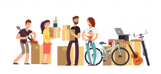 Couple and kids holding cardboard box with household stuff.