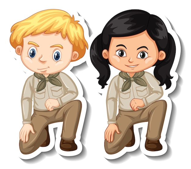 Couple of kids in safari outfit cartoon character sticker