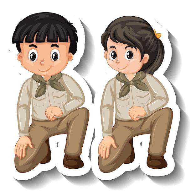 カップルの子供たちはサファリの衣装の漫画のキャラクターのステッカーを着用します