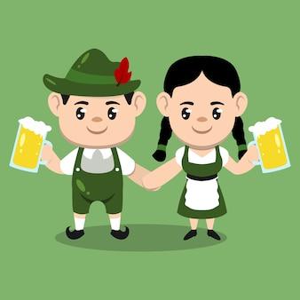 A couple of kids with oktoberfest costume mascot design illustration