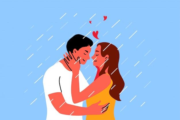 カップル、キス、日付、愛の概念