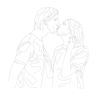 Couple kissing head minimal hand drawn illustration in one line art style drawing
