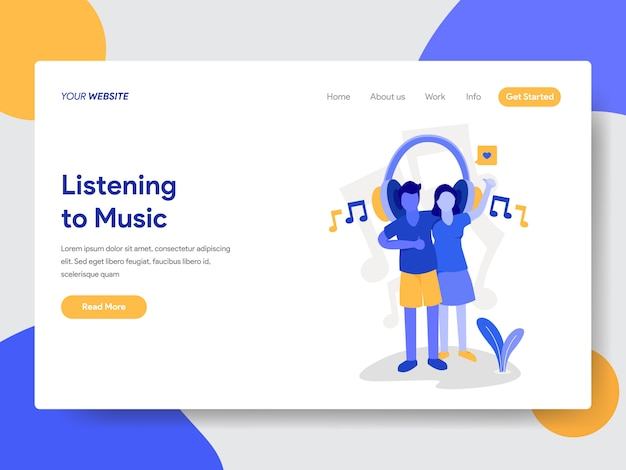 Couple listening to music illustration for web pages