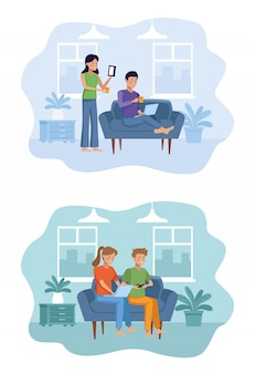 Couple in the living room illustration