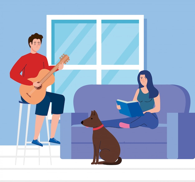 Couple in living room, woman reading book with man playing guitar