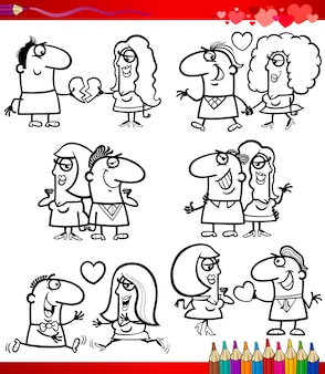 Couple in love cartoons coloring page