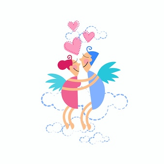 Couple love embrace flying heart shape