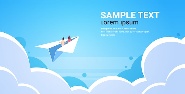 Couple in love flying on paper airplane man woman lovers traveling together romantic concept blue sky background with clouds flat horizontal copy space