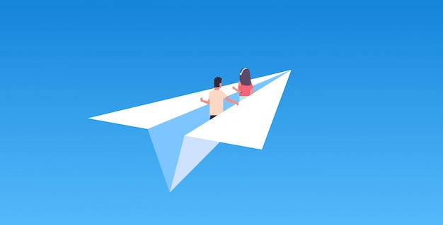 Couple in love flying on paper airplane man woman lovers traveling together romantic concept flat horizontal