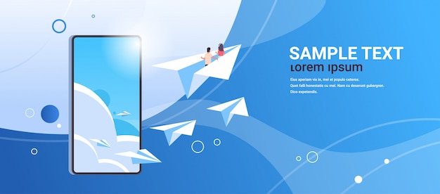 Couple in love flying on paper airplane man woman lovers traveling together romantic concept smartphone screen online mobile app