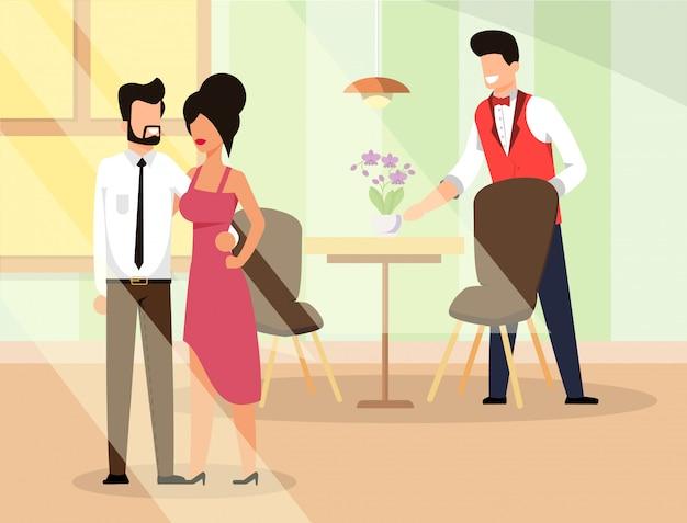 Couple in love go restaurant illustration flat.
