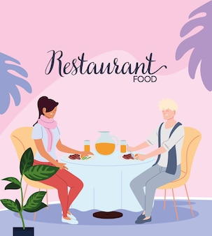 Couple in love having dinner and having a juice in the restaurant illustration design