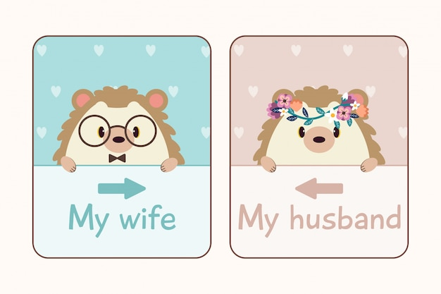 The couple in love of hedgehog with wedding card.