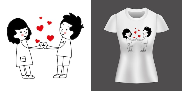 Couple in love holding hands betweens hearts printed on shirt.