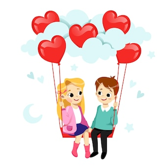 Couple in love is flirting and smiling. boy and girl are on the swing with air balloons in heart shape.