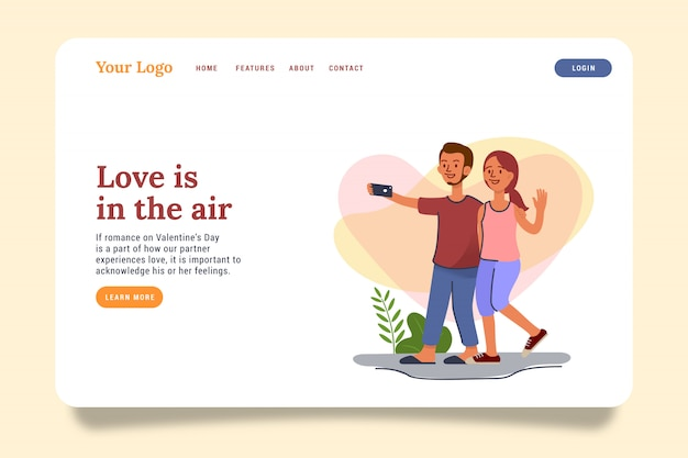 Couple in love landing page website illustration.