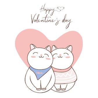 Пара любви кошки с большим сердцем на день святого валентина.