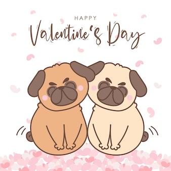 バレンタインデーのためのミニハートと犬のパグのカップルの愛。