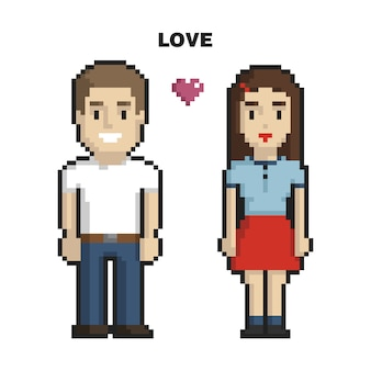Couple in love pixel art on white background