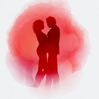 Couple in love on a red watercolor