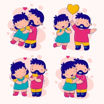 Couple in love set stickers collection
