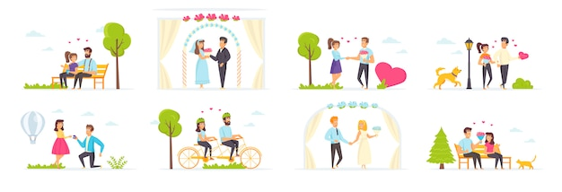 Couple in love set with people characters in various scenes and situations.