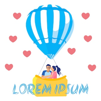 Couple in love travelling in air hot balloon card