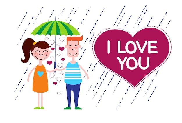 Couple love under umbrella heart shape