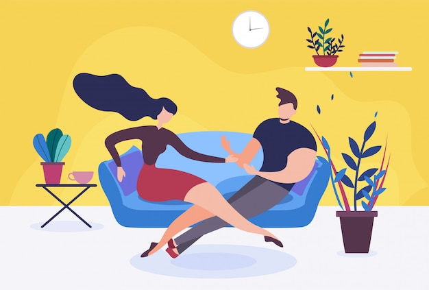 Couple in love or wife and husband sit on sofa talking