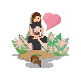 Пара прекрасный сидящий пол с цветами