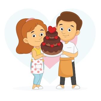 バレンタインデーのビッグチョコレートケーキを保持しているカップルの恋人料理人