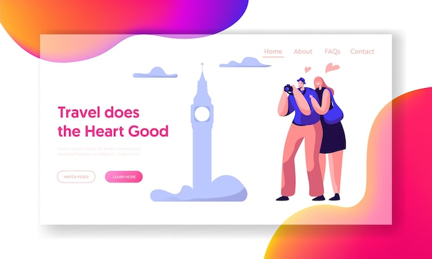 Couple lover travel take photo sight landing page template.