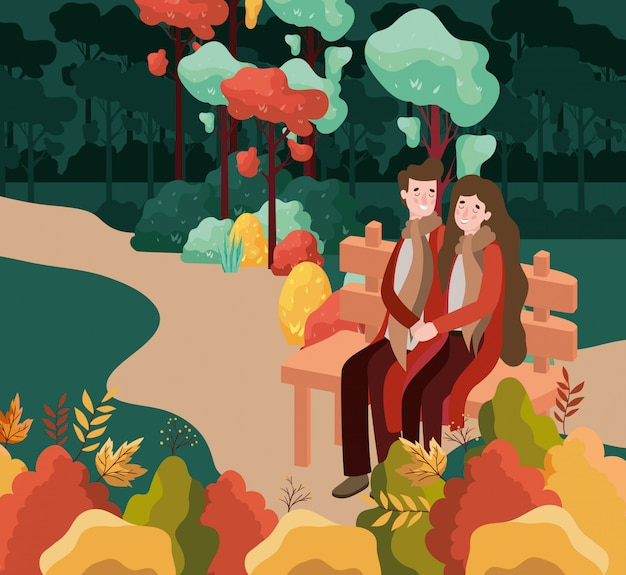 Couple lovers seated in park chair with autumn suit characters