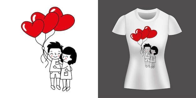 シャツにプリントされた風船を持って愛するカップル。